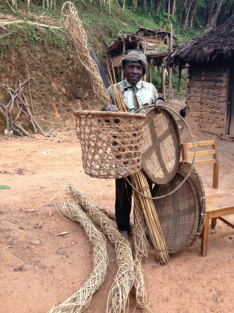 A basket weaver in Bwindi